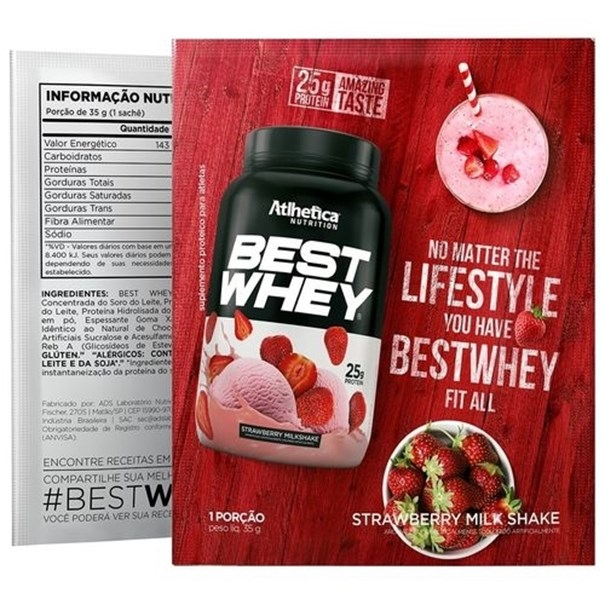 Imagem de Best Whey Protein Strawberry Milk Shake 35g (Dose única) - Athletica