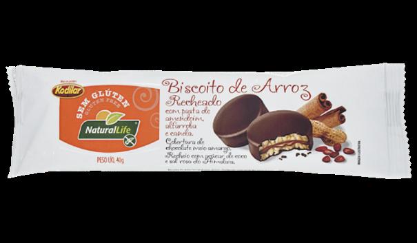 Imagem de Biscoito de Arroz Recheado com Pasta de Amendoim, Alfarroba e Canela Natural Life 40g