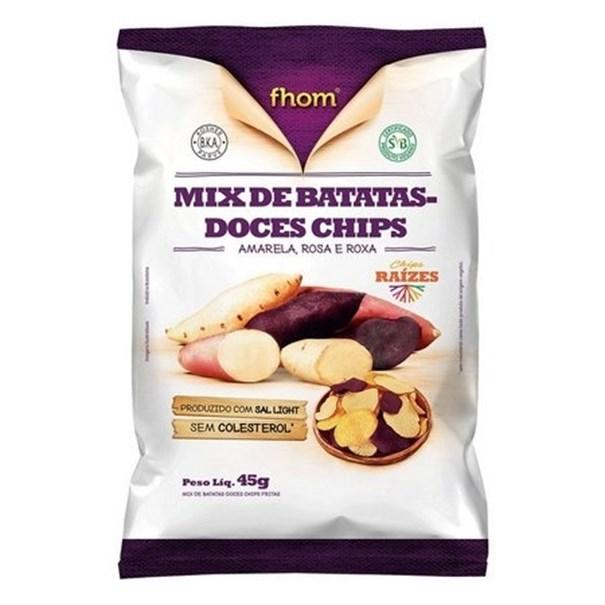 Imagem de Chips de Batata Doce Mix (Amarela, Rosada e Roxa) Fhom 45g