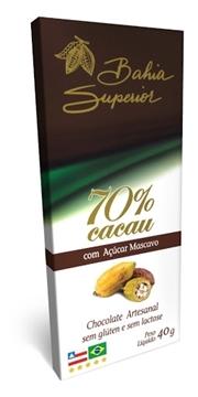 Imagem de Chocolate Artesanal 70% Cacau Com Açúcar Mascavo Bahia Superior 40g