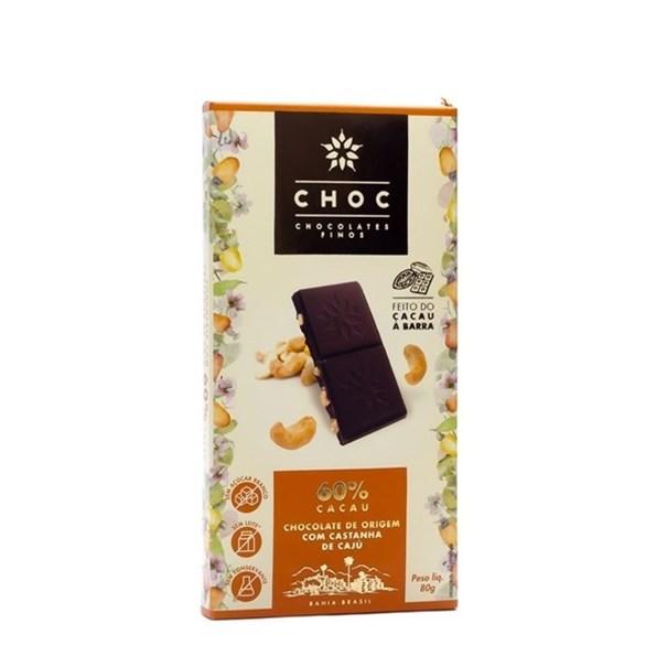 Imagem de CHOC Chocolate 60% cacau com castanha de caju 80g