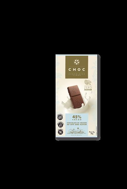 Imagem de CHOC chocolate 45% cacau ao leite Zero Açúcar 80g