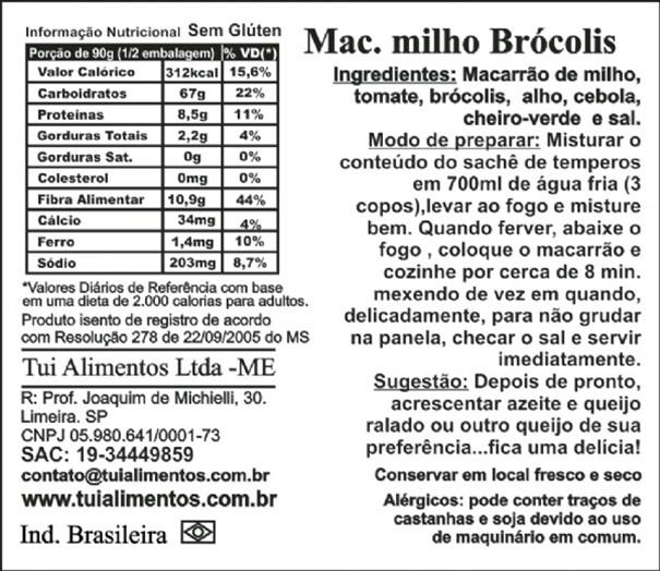 Imagem de Macarrão de Milho com Brócolis Sem Glúten Tui Alimentos 180g