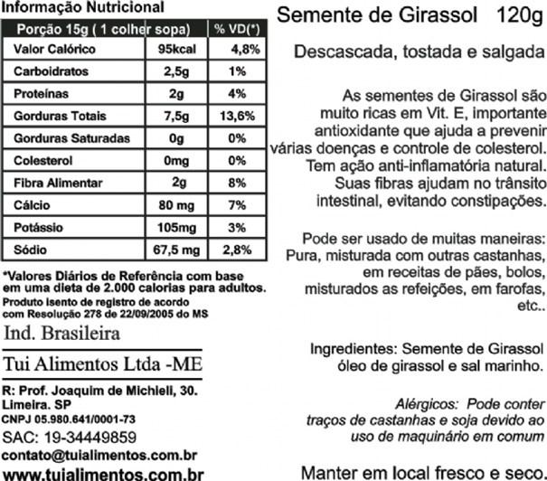 Imagem de Semente de Girassol Tui Alimentos Desc Torr com Sal 120g