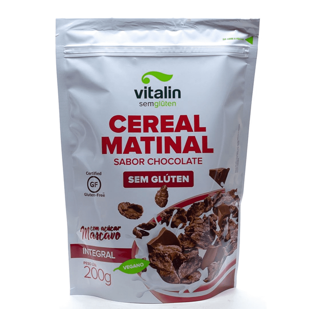 Imagem de Cereal Matinal Sabor Chocolate s/ Glúten c/ Açúcar Mascavo 200g - Vitalin