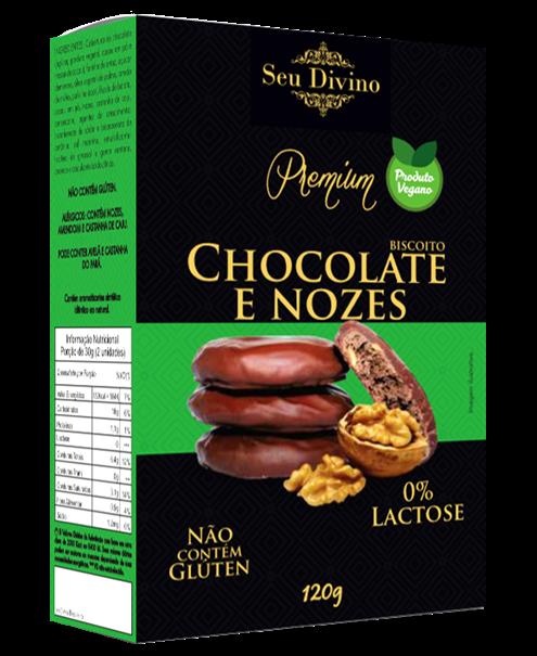 Imagem de Biscoito sem glúten nozes c/chocolate 120g - Seu Divino