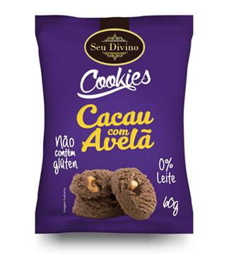 Imagem de Cookies sem glúten cacau c/avela 60g - Seu Divino