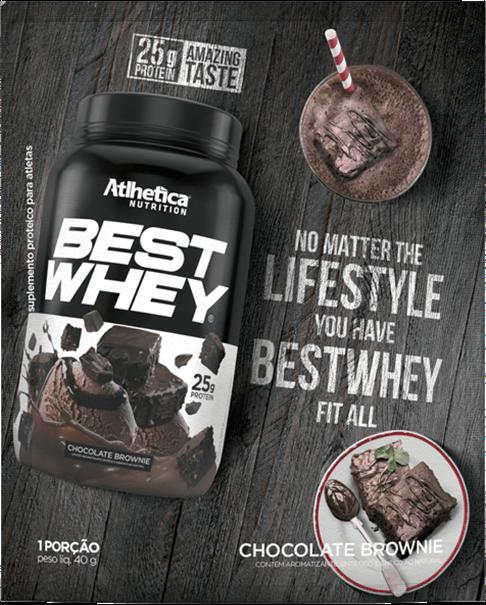 Imagem de Best Whey Protein Chocolate Brownie 40g (Sachê Dose única) - Athletica