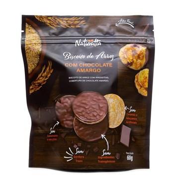 Imagem de Biscoito de Arroz Integral com Cobertura Chocolate Amargo - Naturatta 60g